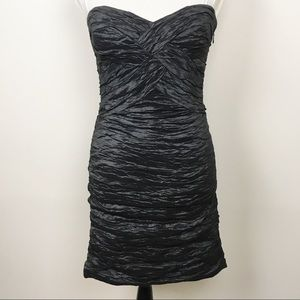 BCBG Dress Black Strapless Ruched Fitted Cocktail